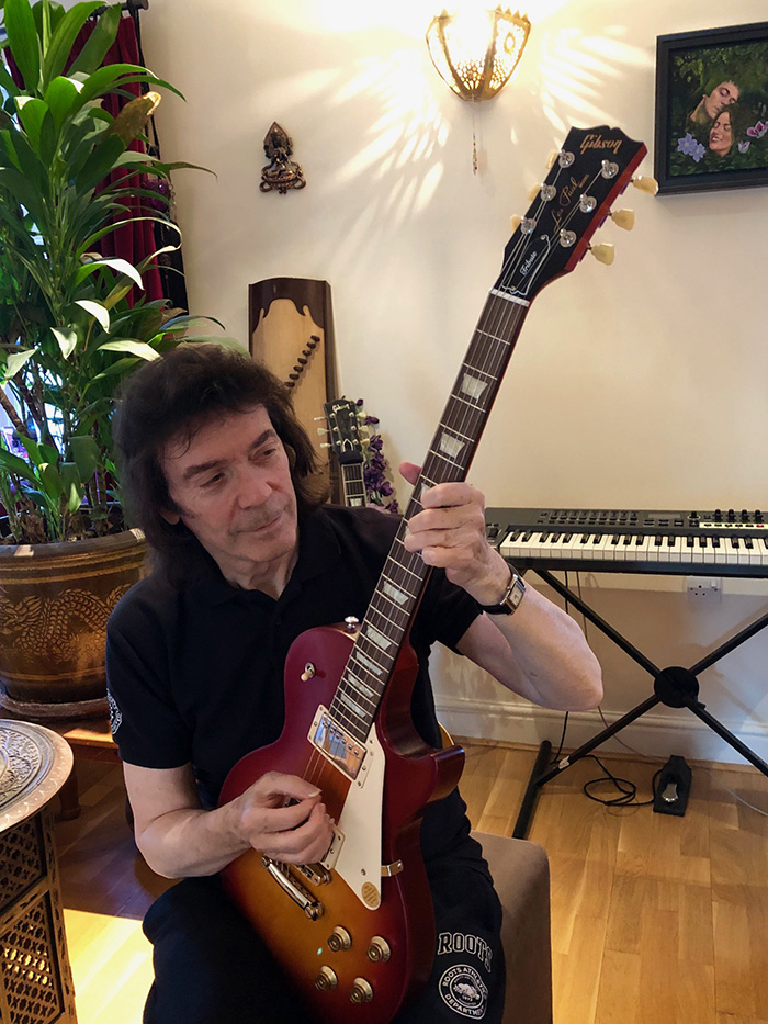 Steve playing the signed Gibson Les Paul