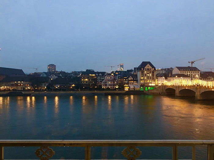 Basel and river in the twilight