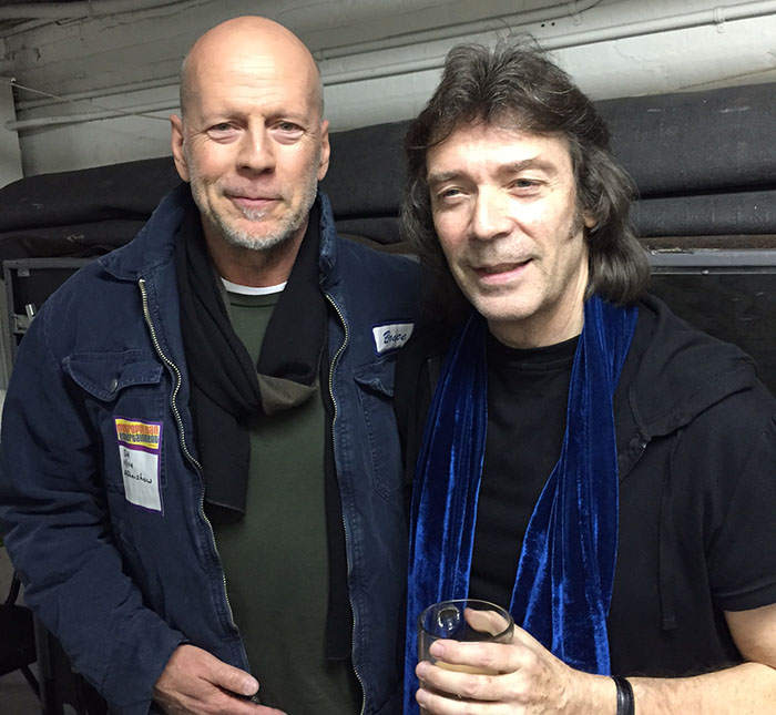 Steve with Bruce Willis backstage, NYC