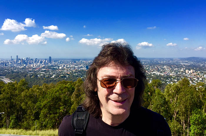 Steve with view of Brisbane from Mount Coot-tha