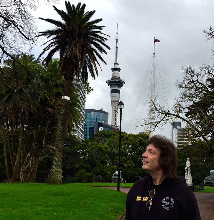 Park in Auckland with Sky Tower in background