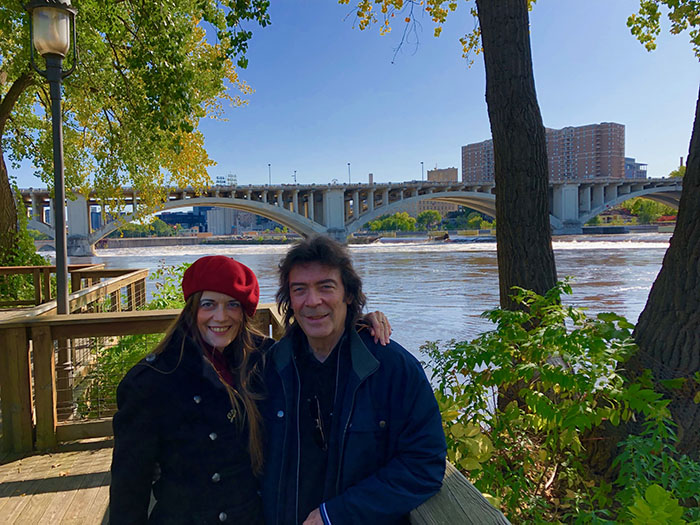 Steve with Jo beside the Mississippi, Minneapolis