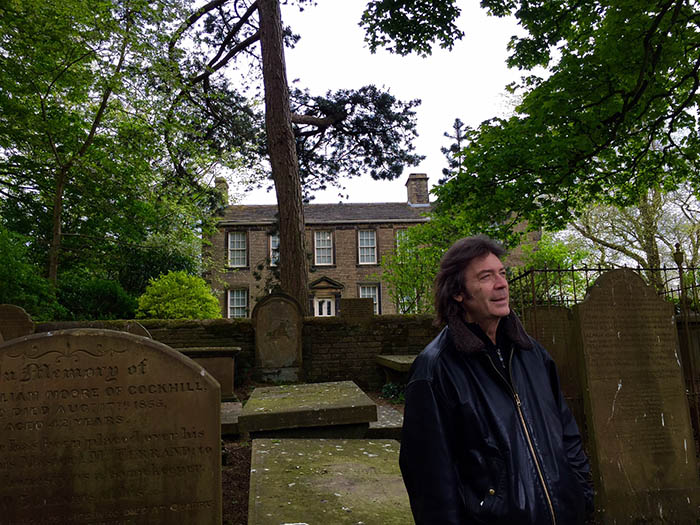 Steve in the graveyard with Bronte house behind