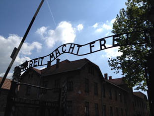 Misleading words at the Auschwitz entrance