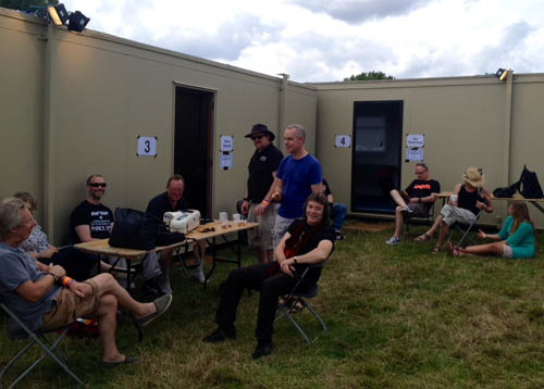 Band relaxing backstage