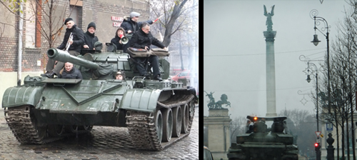 Tank sets off... On loose in Budapest