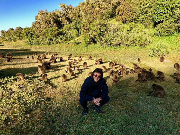 Steve with the baboons