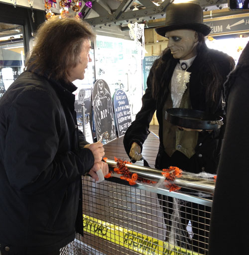 A ghoul greets Steve on Southend Pier