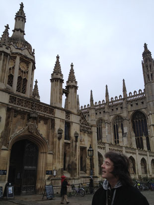 Steve looks up at the spires of Cambridge