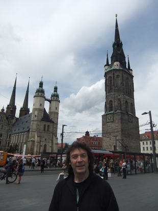 Steve with trams and turrets of Halle