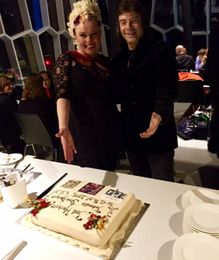 Andrea and Steve with celebration cake at the Reykjavik venue