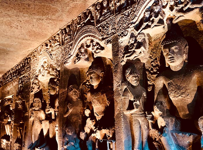 Inside one of the Buddhist Ajanta cave temples
