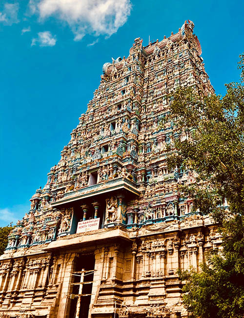 One of the Meenakshi Temple towers