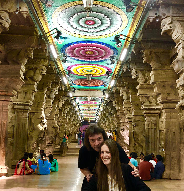 Steve and Jo in the Meenakshi Temple