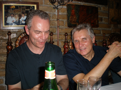 Roger shares a joke with Nick Clabburn