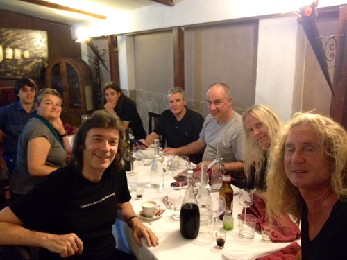 Meal gathering on first night in Italy