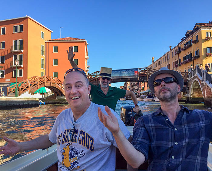 Ben and Rob with Michele on boat, Venice