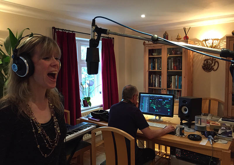Amanda and Roger recording vocals