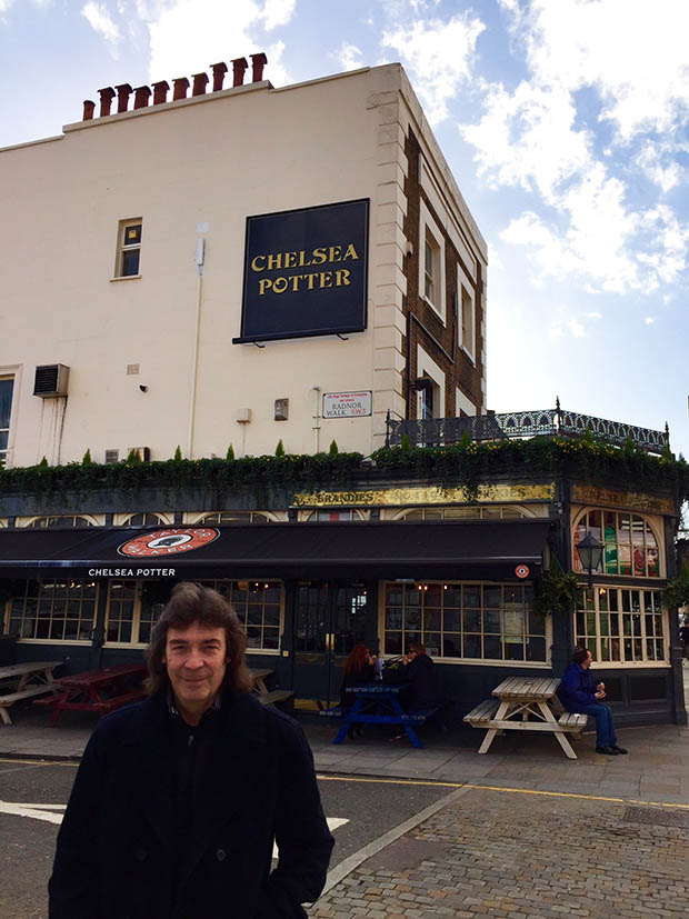 Steve in front of the Chelsea Potter pub