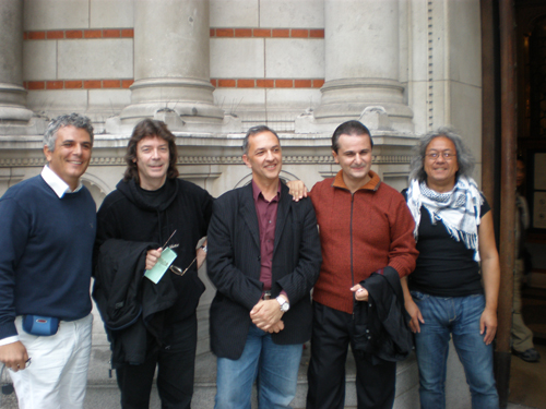 Vincenzo Ricca, Steve, Corrado Canonici, Marco, Theo Chen outside the cathedral