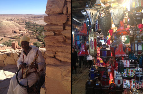 Musician in Ait Benhaddou | Exotic lamp shop in souk