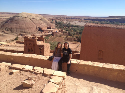Steve and Jo in Ait Benhaddou with Sahara desert behind
