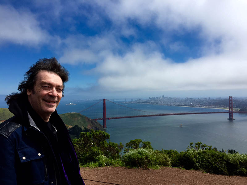 Steve with, the bay, Golden Gate Bridge and San Francisco panorama