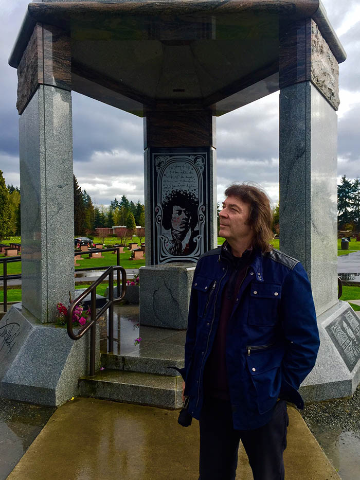 The Hendrix memorial and burial place