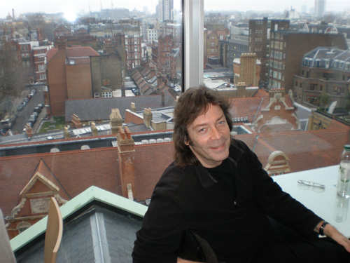 Over the rooftops and houses - Steve in the Peter Jones cafe