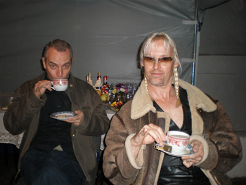 Roger sipping tea with 'Auntie' Nick