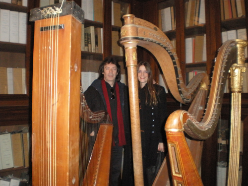 Steve and Jo through harps in the Music Conservatory