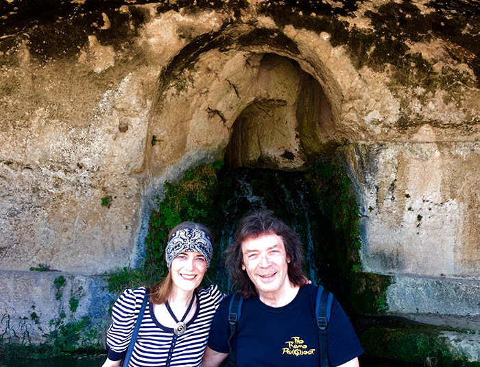 Steve and Jo with ancient grotto waterfall, Syracuse