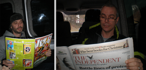 Contrasting reading material on tour