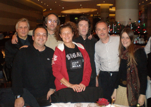 Steve, Jo and Nick Clabburn celebrate with Italian friends Guissepi, Franco, Laura and Mino after Milton Keynes