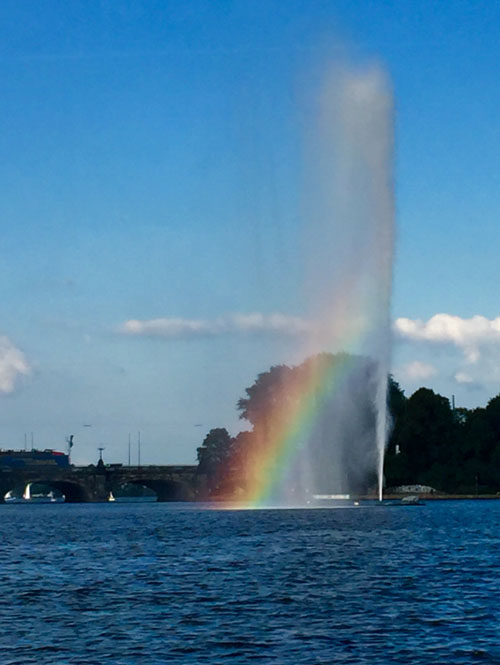 Fountain on the water in Hamburg