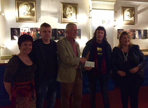 Handing over the cheque from the Spectral Mornings charity record to the Parkinson's Society