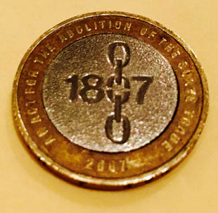 This coin commemorates 200 years since slavery was abolished in the UK in 1807.
