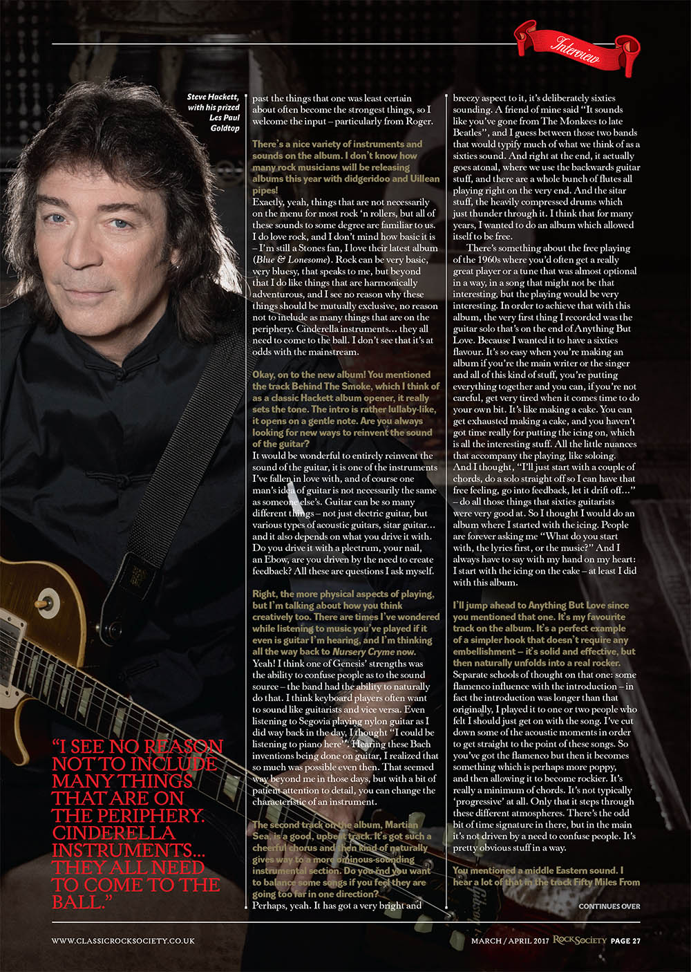Classic Rock Society Magazine Steve Hackett interview