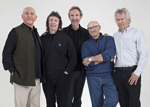Genesis today - Peter Gabriel, Steve Hackett, Mike Rutherford, Phil Collins and Tony Banks