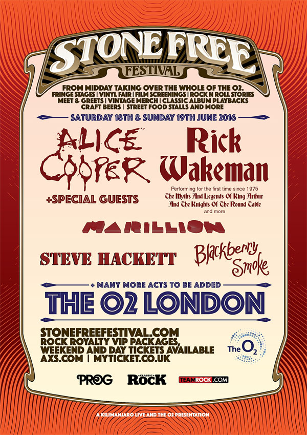 Steve Hackett to play at Stone Free Festival at the 02 in London, June 2016